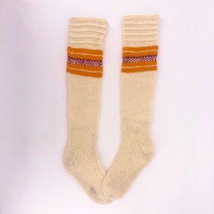 Vintage Tall Striped Wool Knee Socks Boho